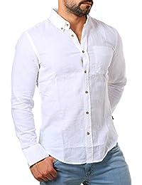 CARISMA Herren Leinen Baumwoll Mix Button Down Hemd Langarm Körperbetont  Slim Fit Leicht Tailliert 8388 a1b9642985