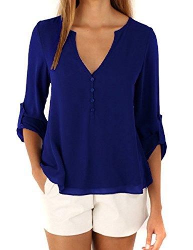 Yidarton Blouse Femme été Pliant Manche Longue Casual Chemise Sexy Col v Mousseline de Soie Top Shirts Mode Vetements Bleu
