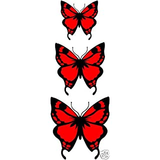 LightningSigns 3 x Red Butterfly Vinyl Stickers,Cars,Window,Graphic