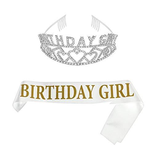 härpe Tiara Stirnbänder Set Strassstein Krone Mädchen Prinzessin Kostüm Zubehör Dekoration für Party Geburtstag Accessoires Geschenk (Goldwort auf Weiß) ()