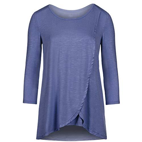 MEIHAOWEI Top de enfermería y Blusas Sueltas cómodas para Mujer para Lactancia Blue XL