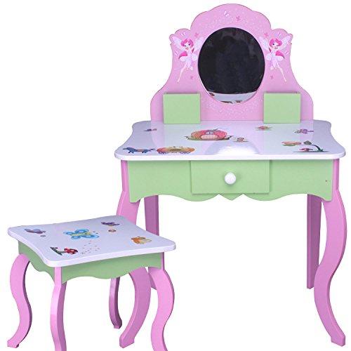 Kinder SCHMINKTISCH ROSA GRÜN Prinzessin ECHTER Spiegel Frisiertisch Hocker HOLZ MDF Stuhl - 2