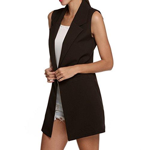Juleya Femme Front Open sans manches Long Duster Coat Waistcoat Blazer Noir