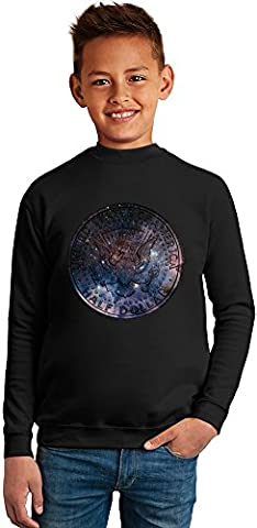 Galaxy Coin Superb Quality Boys Sweater by BENITO CLOTHING - 50% Cotton & 50% Polyester- Set-In Sleeves- Open End Yarn- Unisex for Boys and Girls 8-9 years
