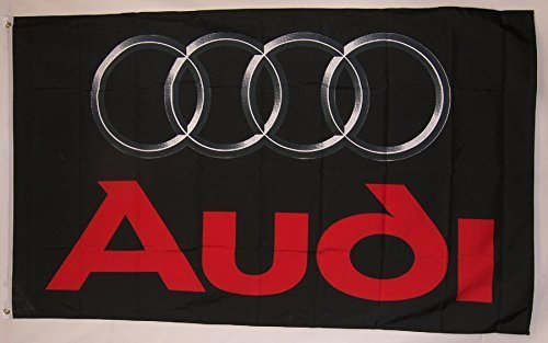 Audi Black Logo Car Flag 3' X 5' Indoor Outdoor Auto Banner by Nuge -
