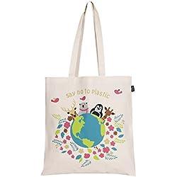 Bolsa de algodón ecológico estampado «Happy Planet»