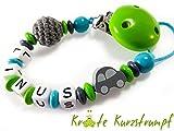 Schnullerkette mit Namen für Jungen Auto und Häkelperle - grün, türkis, grau