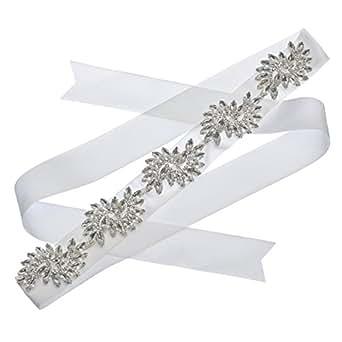 Topwedding satin ivoire ceinture de satin de mariée avec strass Sélection