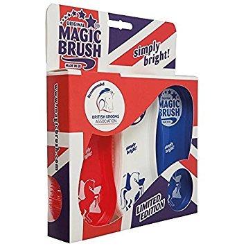 MagicBrush Pferdebürstenset 3er Bürsten-Set | Fellpflege Beinpflege Hufpflege Pferd (Union Jack) -