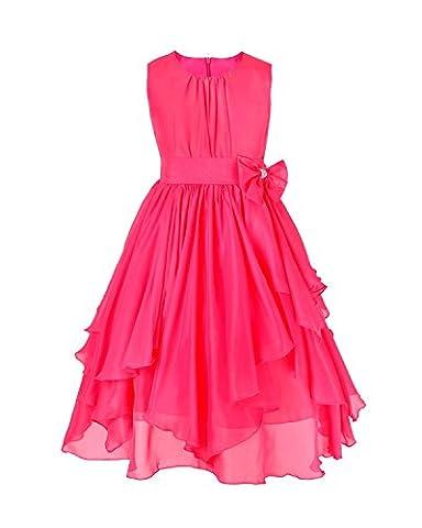 iEFiEL Flower Girls' Dress Chiffon Asymmetric Ruffled Wedding Party Dresses Rose 5-6 Years