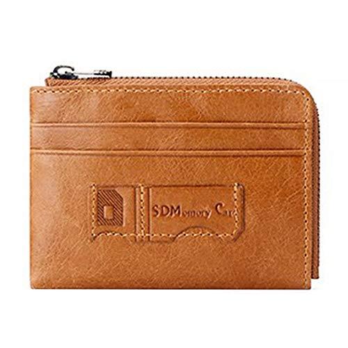 Münzfach Brieftasche (LinHut Tasche Echtes Leder Brieftasche Karte Geldbörse Mini Münzfach Geldbörse Externe Karte Tasche Mäppchen Für Unisex Karten-Münze)