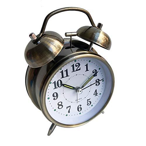 YUEBAOBEI Despertador, Silencioso, Sin Tic TAC, Clásico, Retro, Doble Campana, Despertador con Luz...