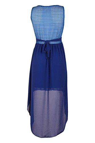 Moda Italy Damen Partykleid Sommerkleid Cocktailkleid Abendkleid Chiffon Vokuhila Schnitt Strass Borte Royalblau