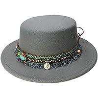 LQ-LIMAO Sombrero de Copa, - Sombrero De Fieltro, Gorro De Mujer Cosido, Sombrero Retro De La Iglesia De Jazz De Estilo Británico 57-58 Cm (Color : Gris, tamaño : 57-58cm)