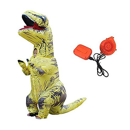 Puruitai Dinosaurier aufblasbare Kostüme Halloween Aufblasbares Kinderkostüm Party Cosplay Kostüm Erwachsene Jumpsuit, gelb, Kid