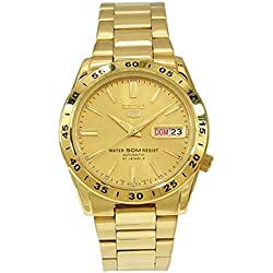 Seiko Men's Quartz Watch with Gold Dial Analogue Display and Gold Stainless Steel Bracelet SNKE06K1
