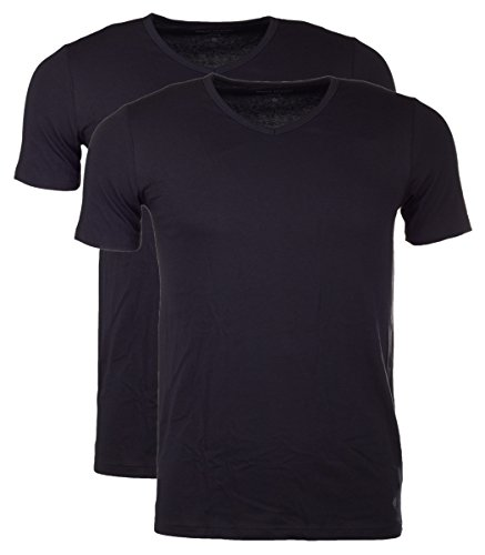 Marc O'Polo Body & Beach Herren Schlafanzugoberteil Marc O´Polo Shirt V-Neck (Dopa) 2er Pack Schwarz