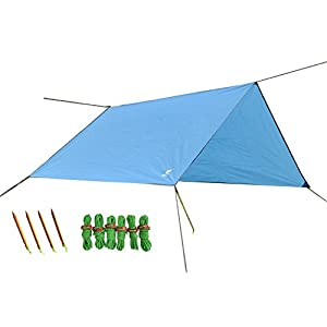 geertop 9ft x 7ft lightweight waterproof tent tarp rain fly hammock shelter with guy lines and pegs for outdoor camping hiking
