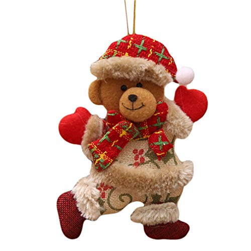 L_shop Christmas Doll Weihnachten Old Man Schneemann Deer Dear Hängen Anhänger Stehpuppe Dekoration Xmas Home Ornamente Weihnachtsbaum Zubehör, wie es Beschreibung ist, Bär - Schneemann Einen Man Wie