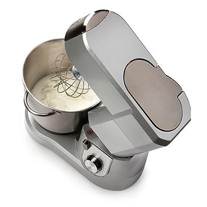 Kchenmaschine-mit-67-Liter-Schale-aus-gebrstetem-Edelstahl-inklusive-Knethaken-Rhrbesen-Schneebesen-mit-variabler-Drehzahlregelung-und-Pulsfunktion-silber-Domo-DO9079KR