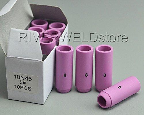 10 douilles TIG Alumina Shield Tasse 10 N50 4 # 10 Zircones 5 10 N48 # 6 # 10 Argenté/bleu 7 # 10/8 # Coupe DB PTA SR WP 17 18 26 Lampe torche TIG soudage Accessoires - 10N46 8# 10PK