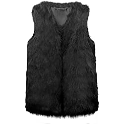 VLUNT Chaleco para Mujer Chleco Piel Invierno Sin Mangas Abrigo piel Mujer Sin Mangas Chaqueta Pelo Chaleco Mujer Fur Vest (Negro, xxx-large)