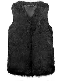 VLUNT Chaleco para Mujer Chleco Piel Invierno Sin Mangas Abrigo piel Mujer Sin Mangas Chaqueta Pelo Chaleco Mujer Fur Vest