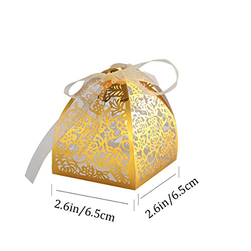 SUPVOX 50 Stück Laser Cut Mit Band Hochzeit Mitbringsel, Hochzeitsgeschenk Taschen Schokolade Süßigkeiten und Geschenkboxen (Goldene)