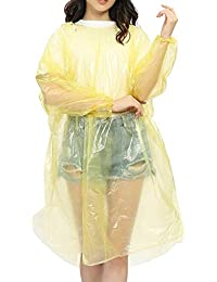 Aryshaa Unisex Extra Thick Disposable Rain Coat Emergency Waterproof Rain Poncho with Drawstring Hood Raincoat (Multi Colour)