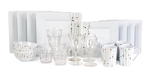 Melamingeschirr-Set 24 Teile Linea Design inkl. 4X Weinglas 4X Wasserglas