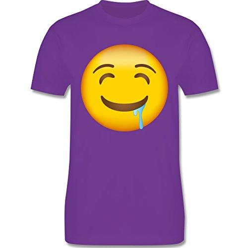 Shirtracer Comic Shirts - Emoji Wasser IM Mund - Herren T-Shirt Rundhals Lila