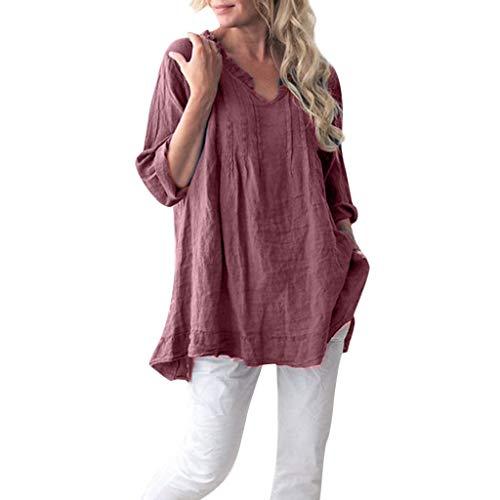 OMYGOA ❤Frauen V-Ausschnitt Langarm Shirt Loose Pullover Plissee Shirt Big Hem(Rot,XXXXXL) (Supreme Harley Quinn Kostüm Frauen)