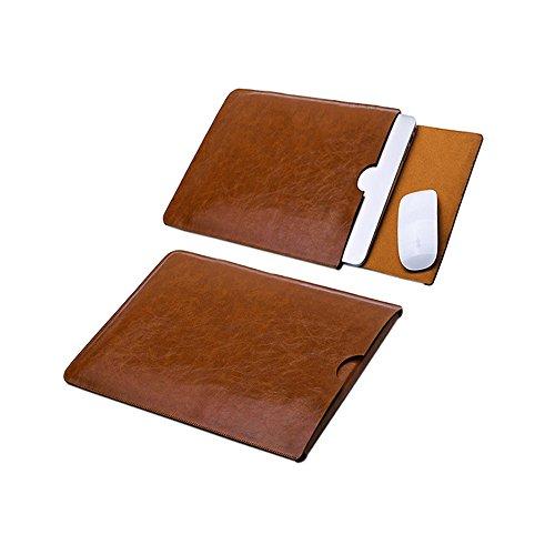 Delmkin MacBook Air Hülle PU-Leder MacBook Air & Macbook Pro Schutzhülle 13 Zoll (Braun)