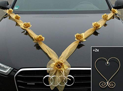 Gold Silber Auto Schmuck Braut Paar Rose Deko Dekoration Autoschmuck Hochzeit Car Auto Wedding Deko Ratan (Organza M+H Gold)