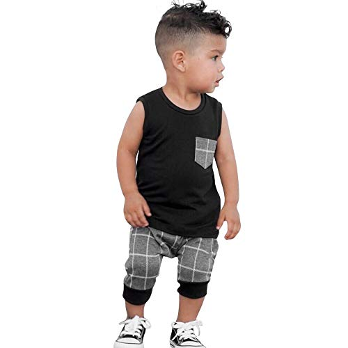 LABIUO Jungen-Sommer-Kleidung,Säuglingsbabymode Plaid Oberseiten Ärmellose Taschenweste+Striped Shorts Kinderkleidung(Schwarz,24M\110)