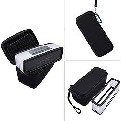 Nicecool Housse de transport rigide avec coque souple pour haut-parleur Bluetooth Bose SoundLink Mini I et Mini II Compatible avec le câble de charge Noir