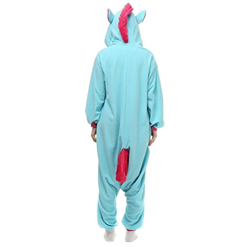 KiKa Monkey Flannel Unicorn Cartoon Animal Noël Cosplay Pyjamas (M, bleu) bleu