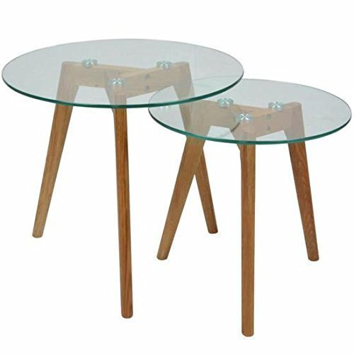 MUIDECO® - Lot de 2 Tables Basses en Verre - Gigognes - Rondes - Design Scandinave.