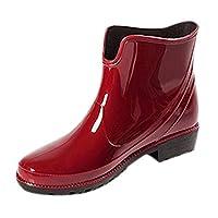 Frestepvie Womens Waterproof Wellies Wellington Boots Anti-Slip Ankle Snow Rain Boot Garden Booties Shoes Red UK8