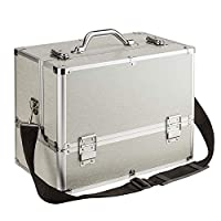 AMASAVA Large Make Up Box, 6 Trays Storage Beauty Box Vanity Case Makeup Organiser Nail Jewelry Cosmetic Box Artist Storage Case Makeup Train Case with Shoulder Strap Silver