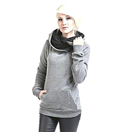 Sannysis Damen Kapuzenpulli Lange Hülsen mit Kapuze Pullover (S, Grau)