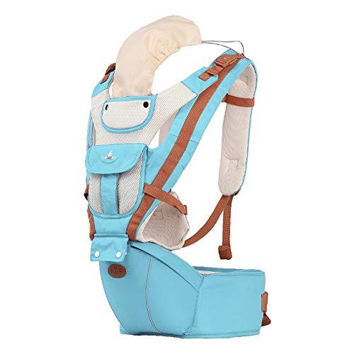 Tragetuch Multifunktionssitz Ergonomischer Babyrucksack 0-36 Monate Vier Jahreszeiten Artefakt mit Sonnenschutz Windundurchlässige Kappe,Lightblue