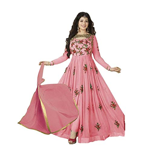 Wommaniya Impex New Designer Pink Georgette Indian Bollywood Bridal Wedding Anarkali Salwar Suit