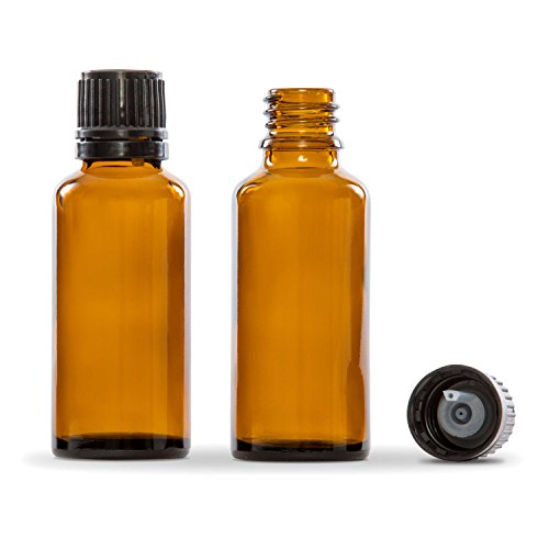30 ml (1 oz) Amber Glass Essential Oil Bottle with European Dropper Cap - 4 Pack - Rock Rose Dropper