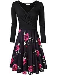 MISSKY Women's V-Neck A-line Floral Retro Party Dress