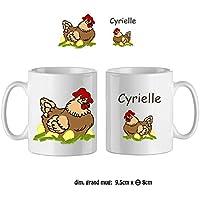 Texti-cadeaux-Mug Poule-personnalisé avec un prénom exemple Cyrielle