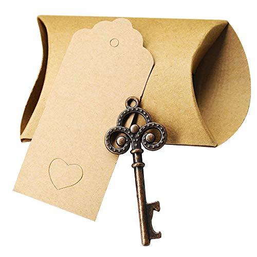 (YuQi 50 StückSchlüssel Flaschenöffner Hochzeit Bevorzugungen für Gäste Party Favors Rustikale Vintage Schlüssel Flaschenöffner mit Escort Card Tag und Schnur)