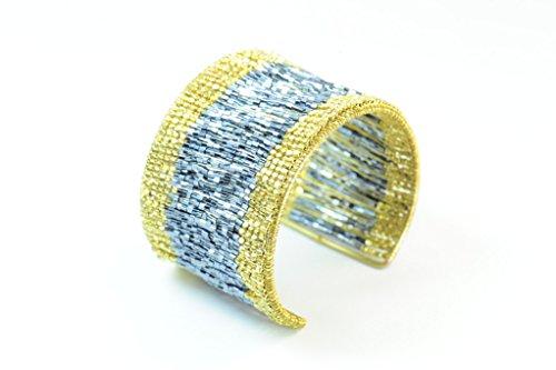 Farbe Blockieren Silber und Gold Manschette Armband mit mit Pailletten (ST130) (Pailletten-manschette)