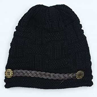 Womdee(TM) Black Fashion Plicate Baggy Knit Snow Hat Winter Snowboarding Beanie Crochet Cap For Women Girls With Womdee Accessory Necklace