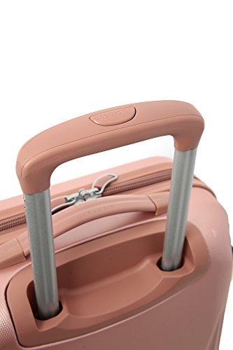 5 Cities Leichtgewicht ABS Hartschale 4 Rollen Handgepäck Trolley Koffer Bordgepäck Kabinentrolley Reisekoffer Gepäck , Genehmigt für Ryanair , Easyjet , Lufthansa , Jet2 und Vieles Mehr, Roségold - 5
